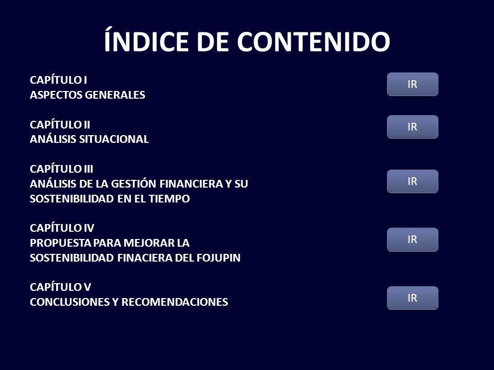 ÍNDICE DE CONTENIDO CAPÍTULO I ASPECTOS GENERALES CAPÍTULO II ANÁLISIS SITUACIONAL CAPÍTULO III ANÁLISIS DE LA GESTIÓN FINANCIERA Y SU SOSTENIBILIDAD EN EL TIEMPO CAPÍTULO IV PROPUESTA PARA MEJORAR LA SOSTENIBILIDAD FINACIERA DEL FOJUPIN CAPÍTULO V CONCLUSIONES Y RECOMENDACIONES IR