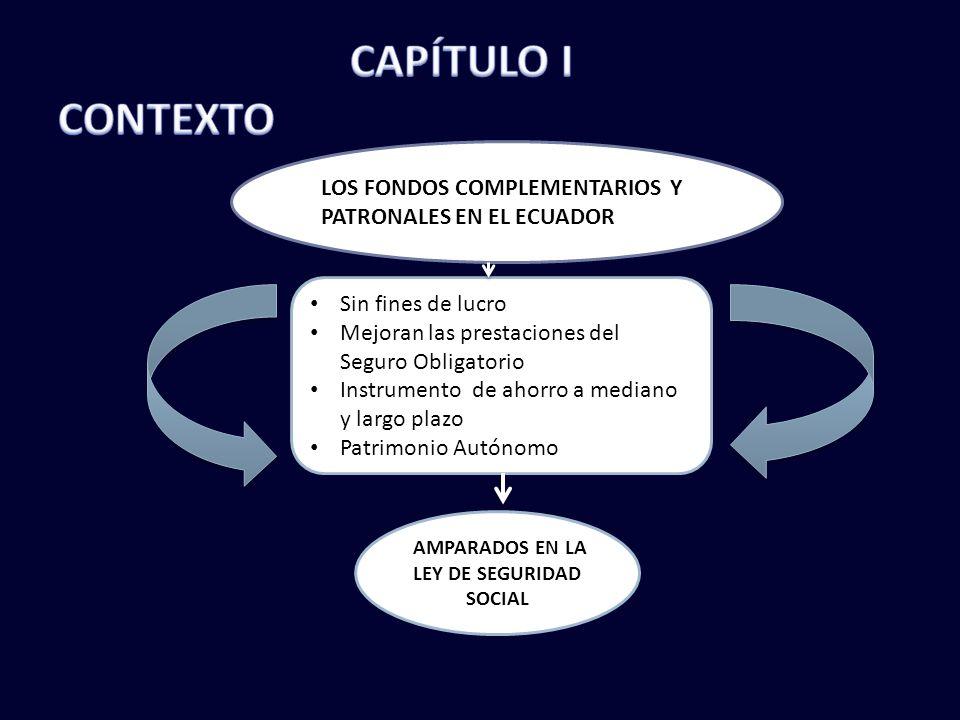 LOS FONDOS COMPLEMENTARIOS Y PATRONALES EN EL ECUADOR Sin fines de lucro Mejoran las prestaciones del Seguro Obligatorio Instrumento de ahorro a mediano y largo plazo Patrimonio Autónomo AMPARADOS EN LA LEY DE SEGURIDAD SOCIAL