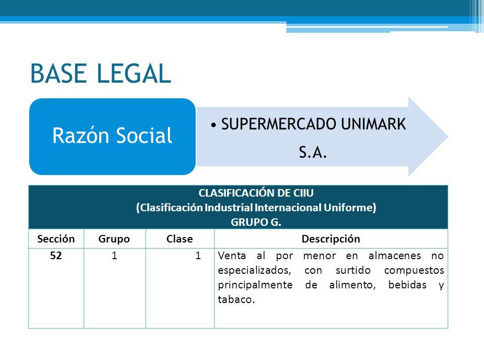 BASE LEGAL SUPERMERCADO UNIMARK S.A. Razón Social CLASIFICACIÓN DE CIIU (Clasificación Industrial Internacional Uniforme) GRUPO G. SecciónGrupoClaseDe