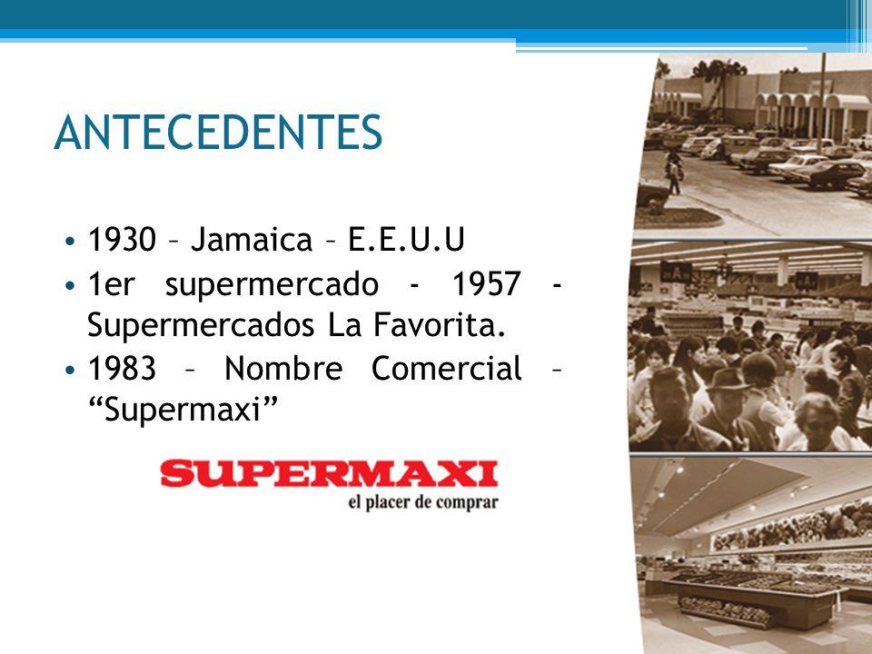 ANTECEDENTES 1930 – Jamaica – E.E.U.U 1er supermercado - 1957 - Supermercados La Favorita. 1983 – Nombre Comercial – Supermaxi