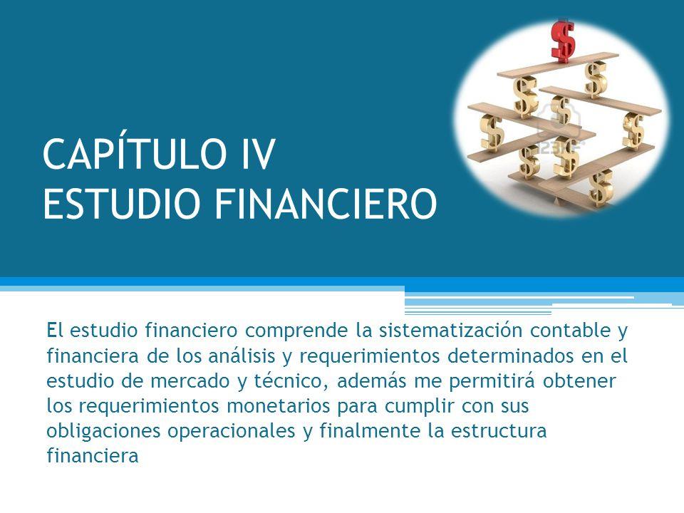 CAPÍTULO IV ESTUDIO FINANCIERO El estudio financiero comprende la sistematización contable y financiera de los análisis y requerimientos determinados