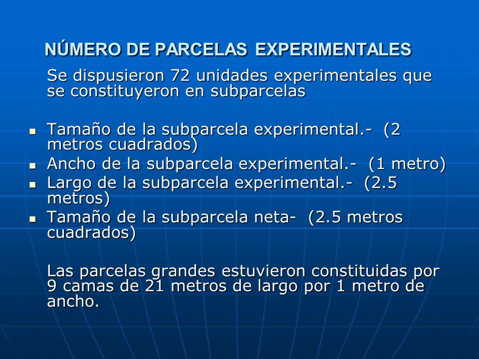NÚMERO DE PARCELAS EXPERIMENTALES Se dispusieron 72 unidades experimentales que se constituyeron en subparcelas Tamaño de la subparcela experimental.-
