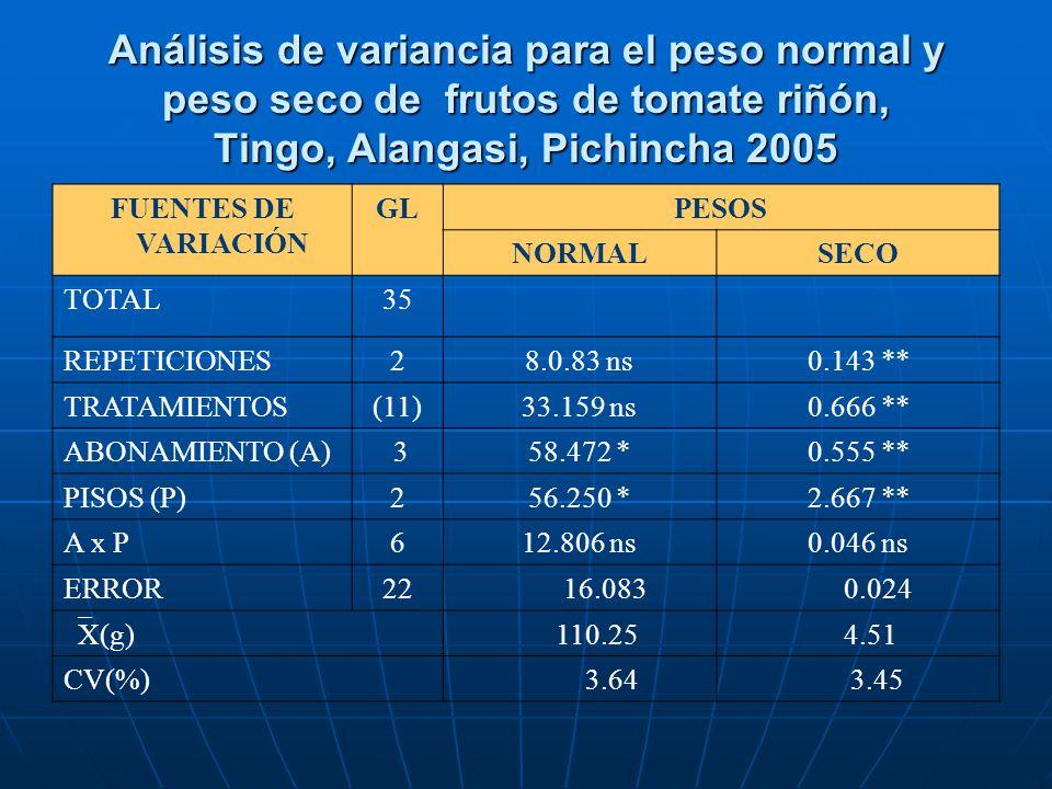 Análisis de variancia para el peso normal y peso seco de frutos de tomate riñón, Tingo, Alangasi, Pichincha 2005 FUENTES DE VARIACIÓN GLPESOS NORMALSE