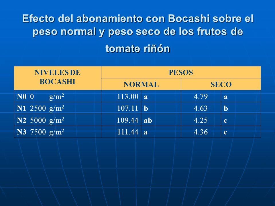 Efecto del abonamiento con Bocashi sobre el peso normal y peso seco de los frutos de tomate riñón NIVELES DE BOCASHI PESOS NORMALSECO N0 0 g/m 2 113.0
