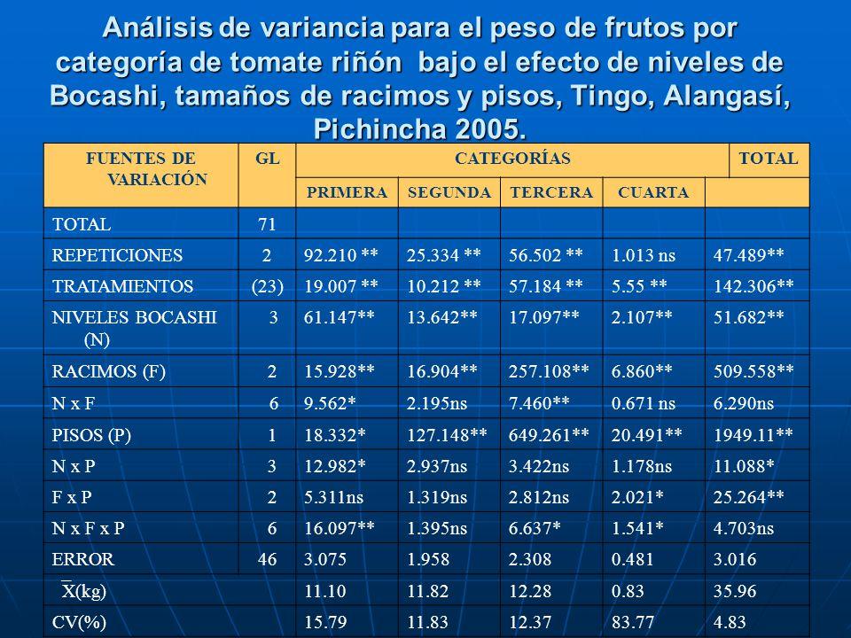 Análisis de variancia para el peso de frutos por categoría de tomate riñón bajo el efecto de niveles de Bocashi, tamaños de racimos y pisos, Tingo, Al