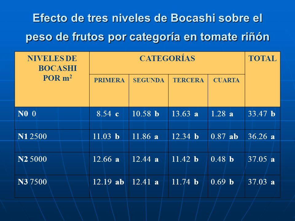 Efecto de tres niveles de Bocashi sobre el peso de frutos por categoría en tomate riñón NIVELES DE BOCASHI POR m 2 CATEGORÍASTOTAL PRIMERASEGUNDATERCE