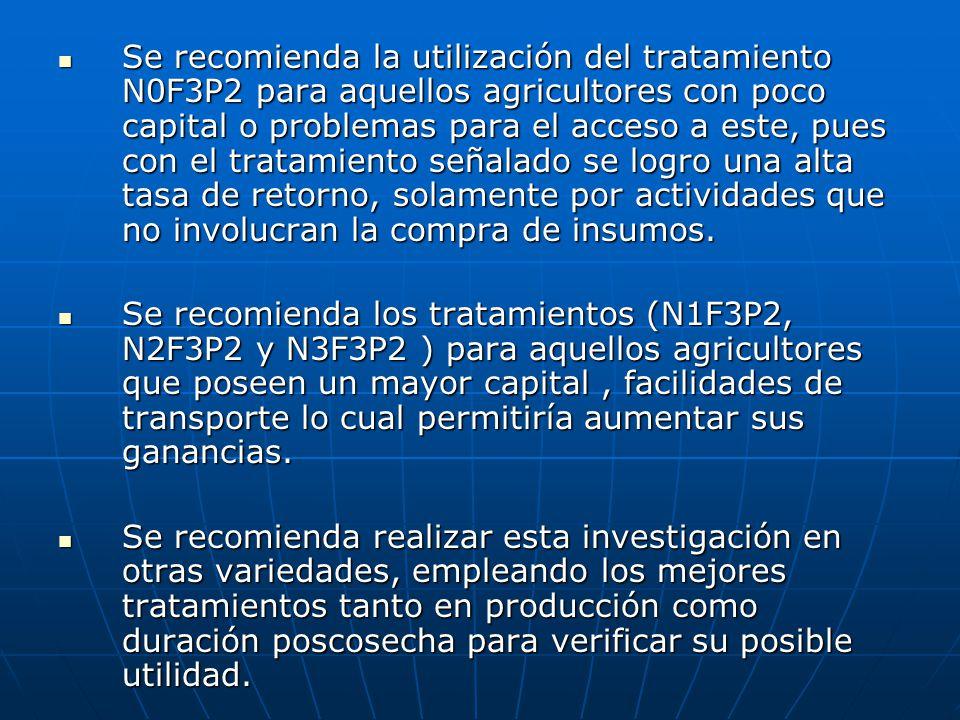 Se recomienda la utilización del tratamiento N0F3P2 para aquellos agricultores con poco capital o problemas para el acceso a este, pues con el tratami