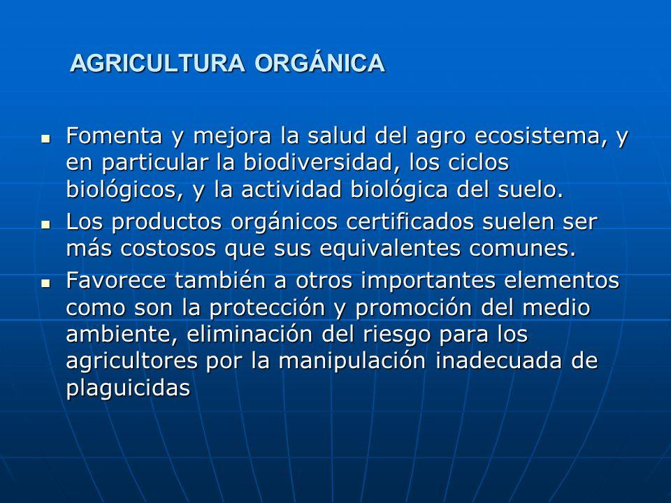 AGRICULTURA ORGÁNICA Fomenta y mejora la salud del agro ecosistema, y en particular la biodiversidad, los ciclos biológicos, y la actividad biológica