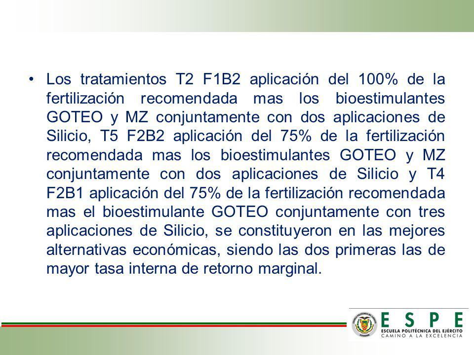 Los tratamientos T2 F1B2 aplicación del 100% de la fertilización recomendada mas los bioestimulantes GOTEO y MZ conjuntamente con dos aplicaciones de