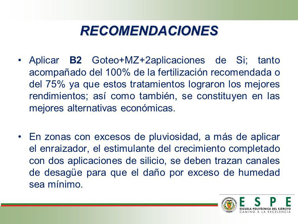 RECOMENDACIONES Aplicar B2 Goteo+MZ+2aplicaciones de Si; tanto acompañado del 100% de la fertilización recomendada o del 75% ya que estos tratamientos