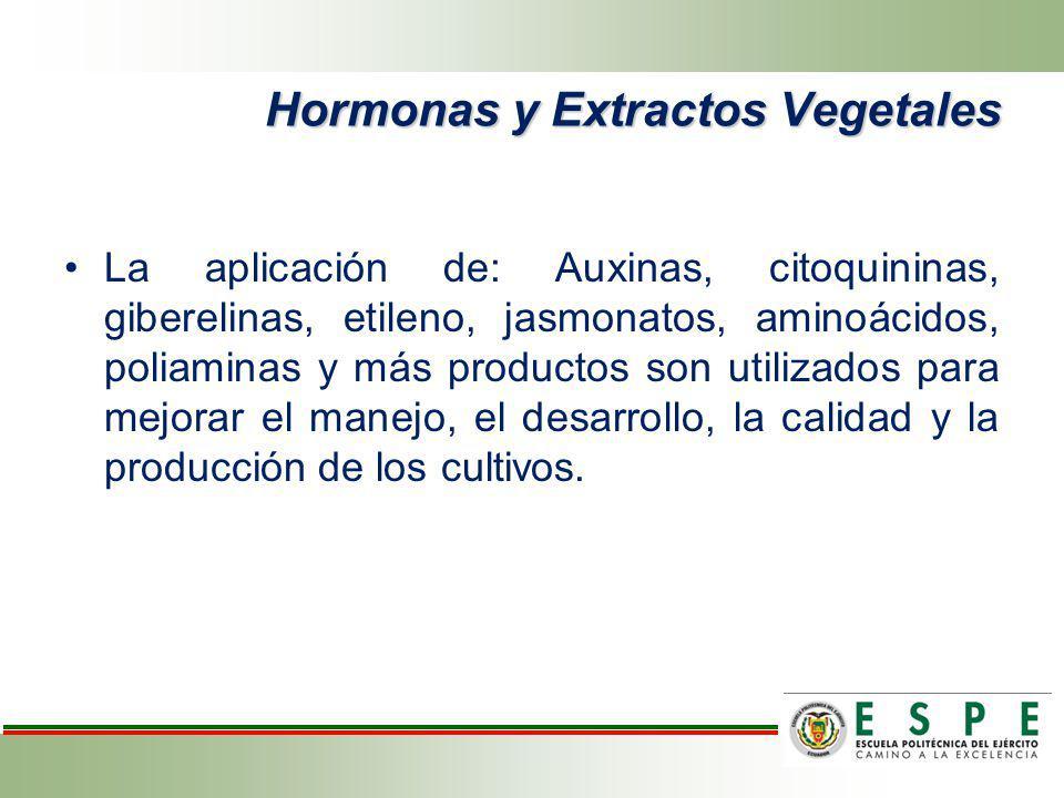 Hormonas y Extractos Vegetales La aplicación de: Auxinas, citoquininas, giberelinas, etileno, jasmonatos, aminoácidos, poliaminas y más productos son