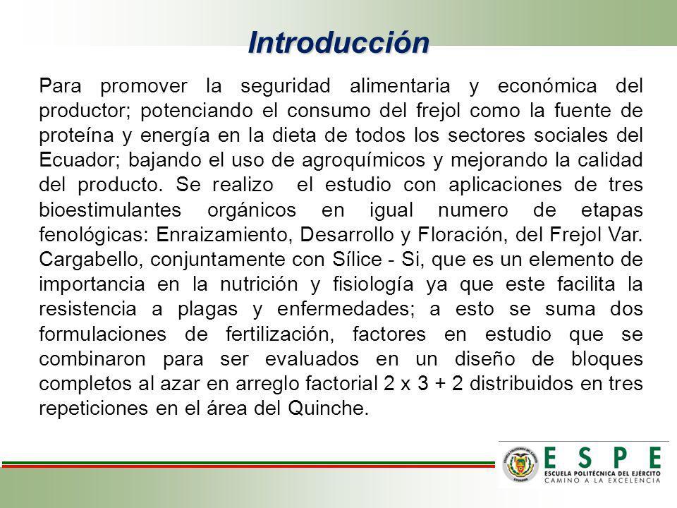 Determinar el efecto de la aplicación conjunta de bioestimulantes naturales (Goteo, BM-86 y MZ-E) más sílice, con dos formulaciones de fertilización química en tres fases fenológicas del fréjol var.