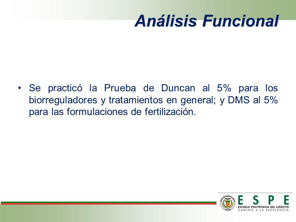 Análisis Funcional Se practicó la Prueba de Duncan al 5% para los biorreguladores y tratamientos en general; y DMS al 5% para las formulaciones de fer