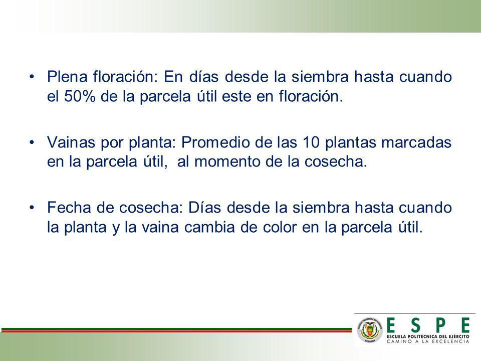 Granos por vaina: Promedio de las vainas en 10 plantas marcadas en la parcela útil, al momento de la cosecha.