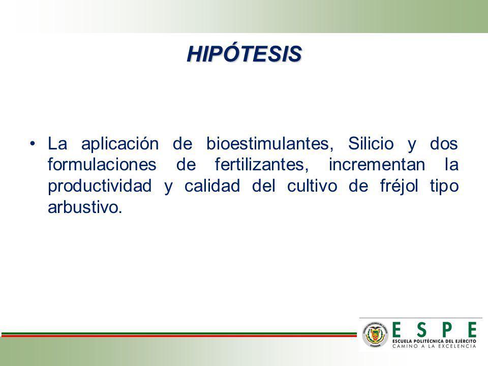 La aplicación de bioestimulantes, Silicio y dos formulaciones de fertilizantes, incrementan la productividad y calidad del cultivo de fréjol tipo arbu