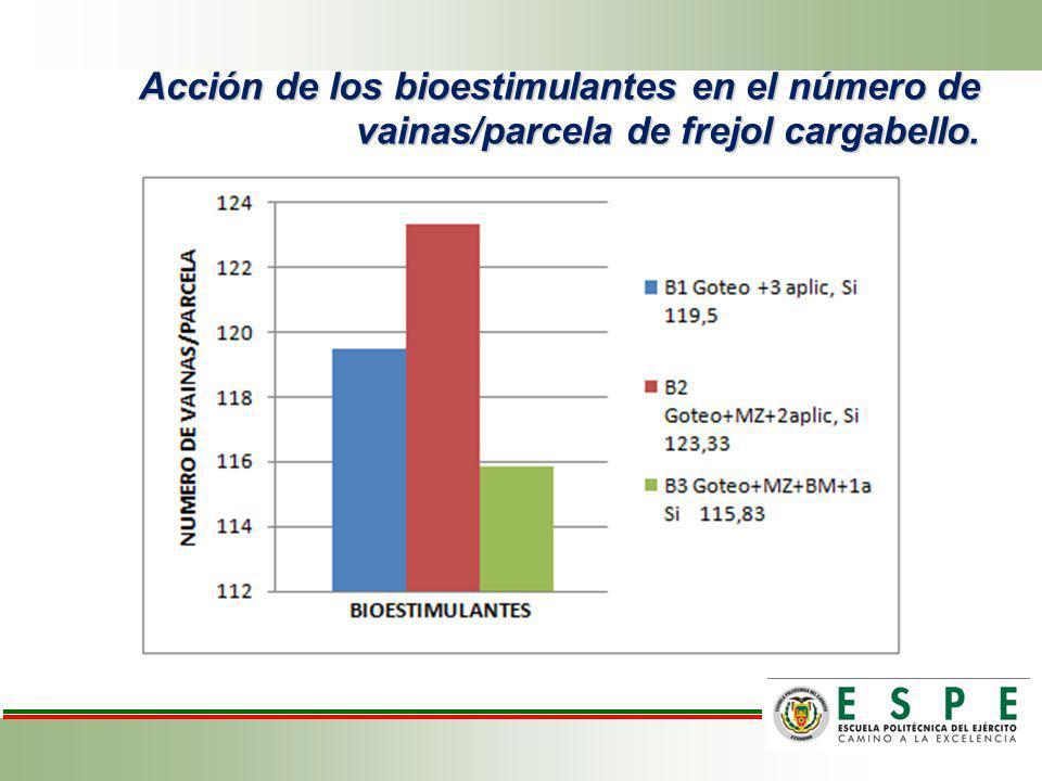Efecto de las formulaciones de la fertilización y bioestimulantes en el número de vainas por parcela de frejol variedad cargabello.