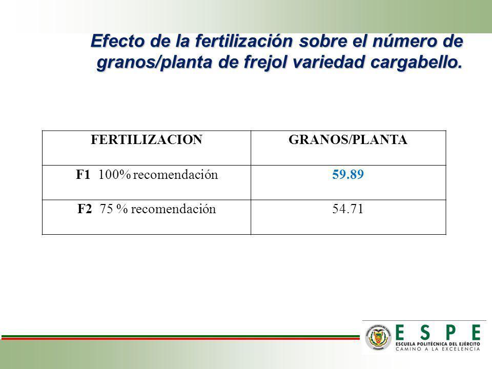 Efecto de la fertilización sobre el número de granos/planta de frejol variedad cargabello. FERTILIZACIONGRANOS/PLANTA F1 100% recomendación59.89 F2 75
