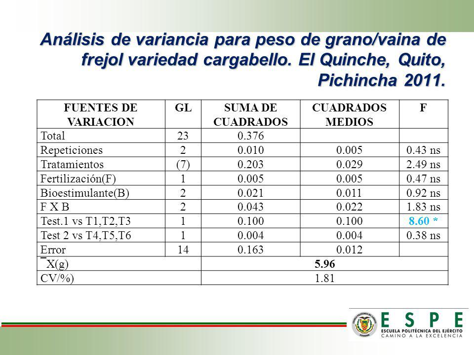 Efecto de la fertilización para peso de grano/ vaina de frejol variedad cargabello.