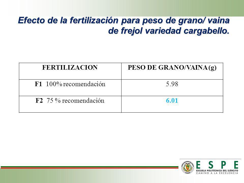 Efecto de la fertilización para peso de grano/ vaina de frejol variedad cargabello. FERTILIZACIONPESO DE GRANO/VAINA (g) F1 100% recomendación5.98 F2