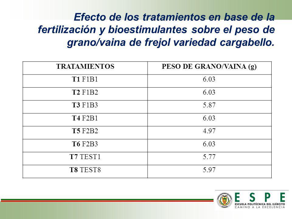 Efecto de los tratamientos en base de la fertilización y bioestimulantes sobre el peso de grano/vaina de frejol variedad cargabello. TRATAMIENTOSPESO