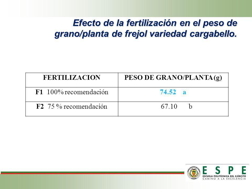 Efecto de la fertilización en el peso de grano/planta de frejol variedad cargabello. FERTILIZACIONPESO DE GRANO/PLANTA (g) F1 100% recomendación74.52