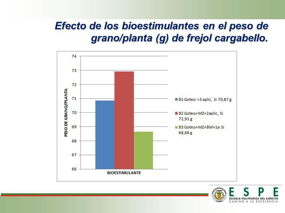 Comportamiento de los tratamientos en base de la formulación de la fertilización y bioestimulantes en el peso de grano/ planta de frejol variedad cargabello.