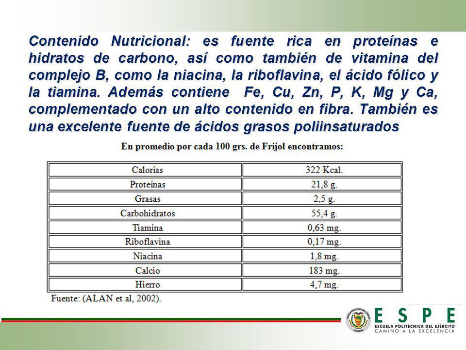 Contenido Nutricional: es fuente rica en proteínas e hidratos de carbono, así como también de vitamina del complejo B, como la niacina, la riboflavina