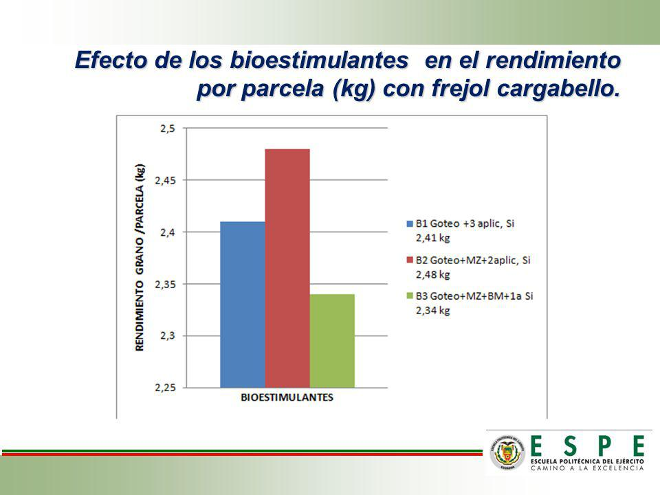 Efecto de los tratamientos en base de la fertilización y bioestimulantes sobre el peso de grano/parcela de frejol variedad cargabello.