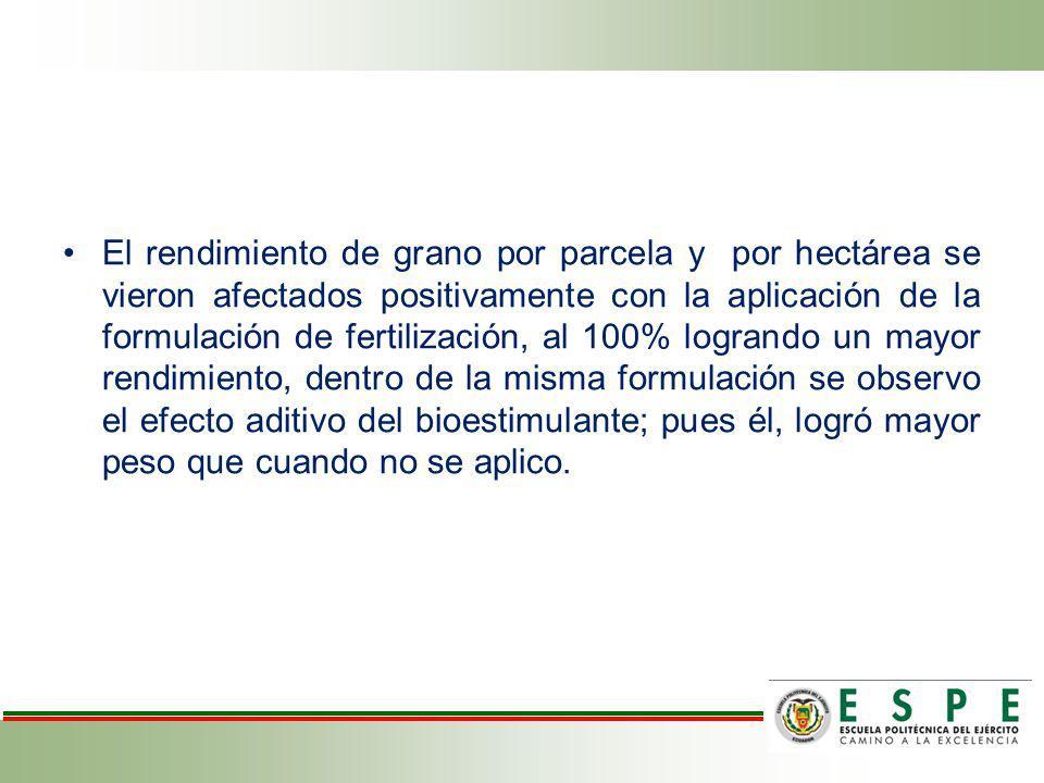 El rendimiento de grano por parcela y por hectárea se vieron afectados positivamente con la aplicación de la formulación de fertilización, al 100% log