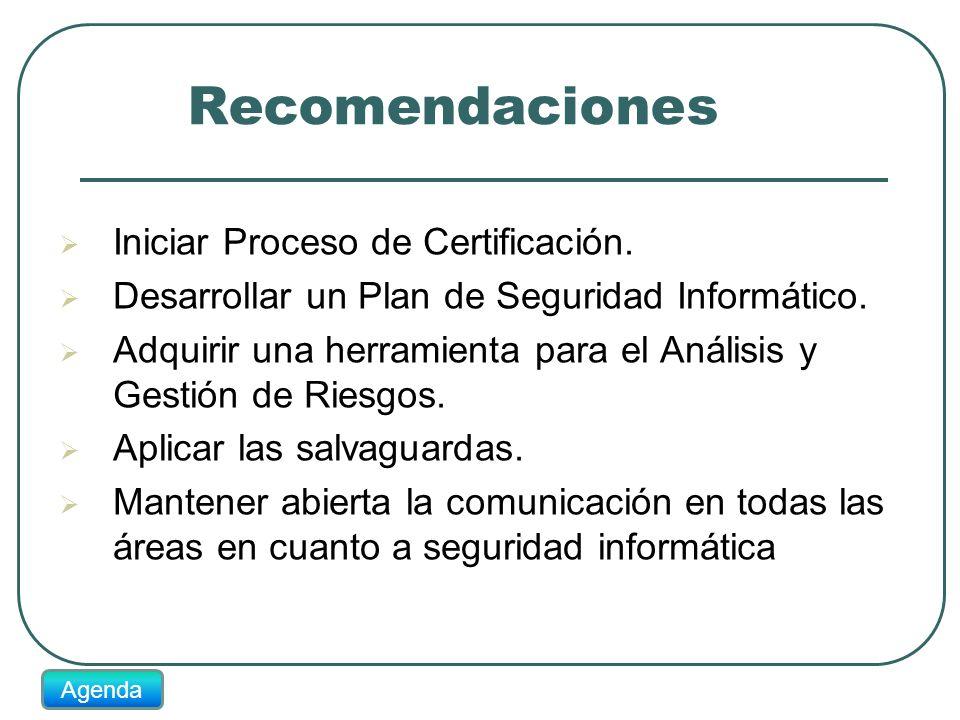 Recomendaciones Iniciar Proceso de Certificación. Desarrollar un Plan de Seguridad Informático. Adquirir una herramienta para el Análisis y Gestión de