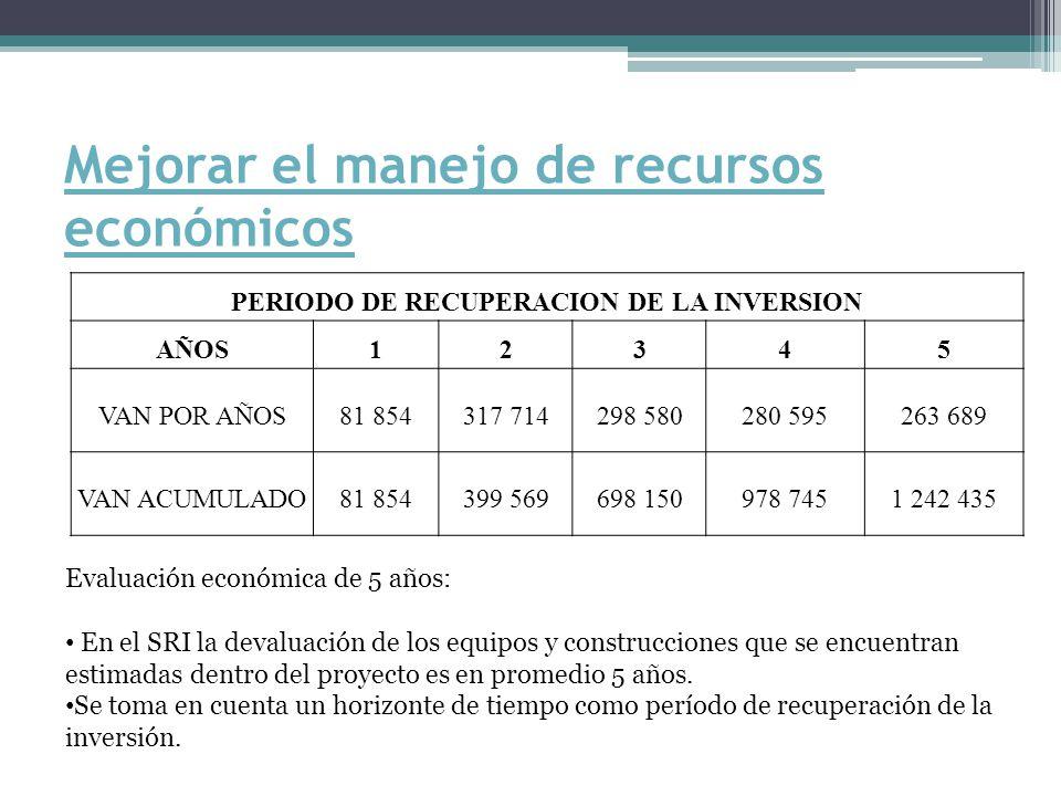 Mejorar el manejo de recursos económicos PERIODO DE RECUPERACION DE LA INVERSION AÑOS12345 VAN POR AÑOS81 854317 714298 580280 595263 689 VAN ACUMULADO81 854399 569698 150978 7451 242 435 Evaluación económica de 5 años: En el SRI la devaluación de los equipos y construcciones que se encuentran estimadas dentro del proyecto es en promedio 5 años.