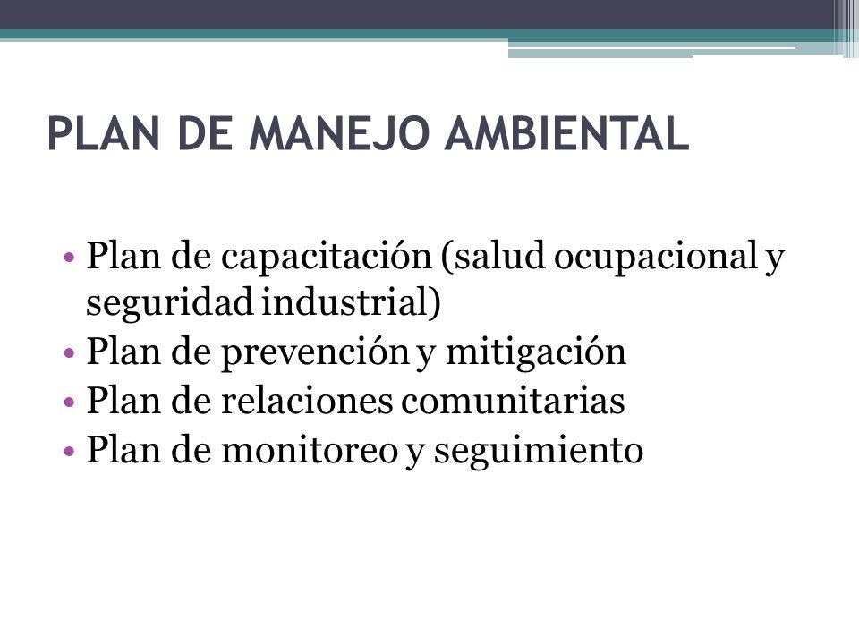 Plan de capacitación (salud ocupacional y seguridad industrial) Plan de prevención y mitigación Plan de relaciones comunitarias Plan de monitoreo y seguimiento PLAN DE MANEJO AMBIENTAL