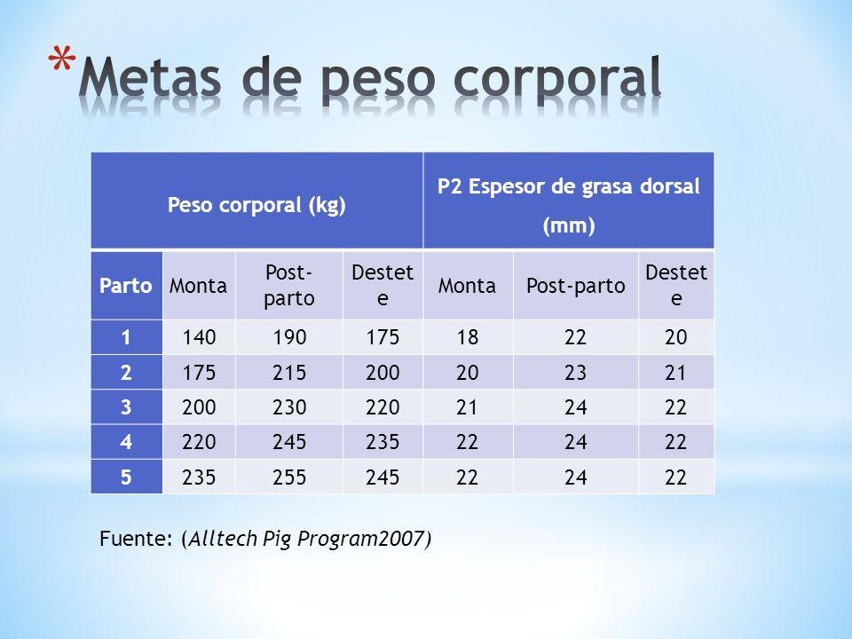 Peso corporal (kg) P2 Espesor de grasa dorsal (mm) PartoMonta Post- parto Destet e MontaPost-parto Destet e 1140190175182220 2175215200202321 32002302