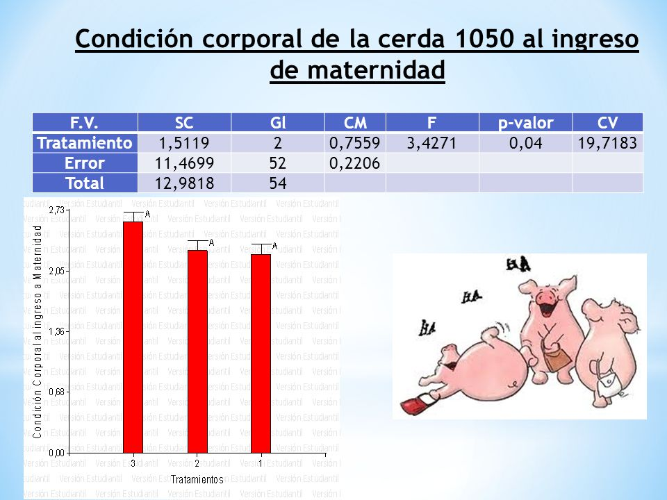 Condición corporal de la cerda 1050 al ingreso de maternidad F.V.SCGlCMFp-valorCV Tratamiento1,511920,75593,42710,0419,7183 Error11,4699520,2206 Total