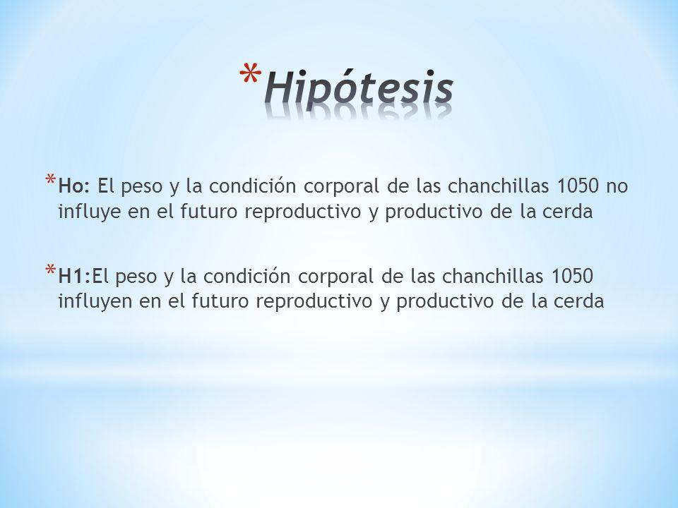 * Ho: El peso y la condición corporal de las chanchillas 1050 no influye en el futuro reproductivo y productivo de la cerda * H1:El peso y la condició