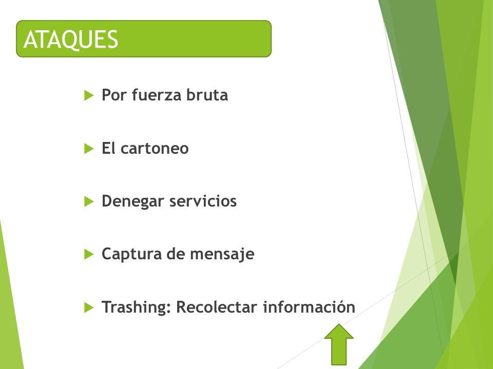 Por fuerza bruta El cartoneo Denegar servicios Captura de mensaje Trashing: Recolectar información ATAQUES
