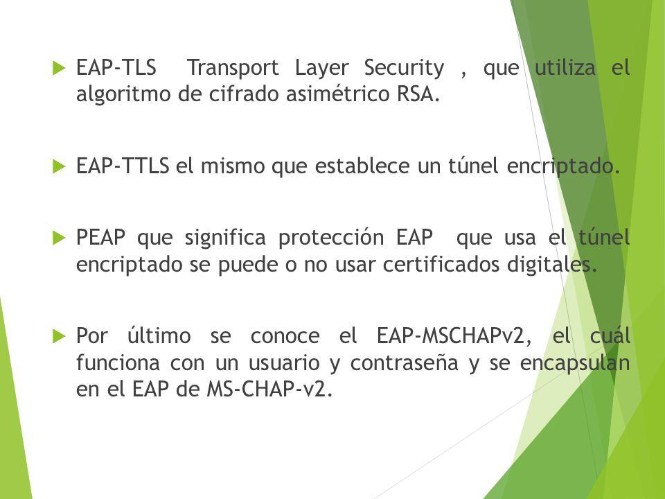 EAP-TLS Transport Layer Security, que utiliza el algoritmo de cifrado asimétrico RSA. EAP-TTLS el mismo que establece un túnel encriptado. PEAP que si