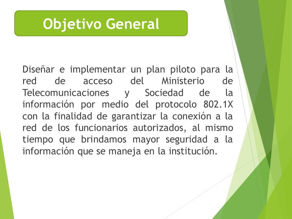 Diseñar e implementar un plan piloto para la red de acceso del Ministerio de Telecomunicaciones y Sociedad de la información por medio del protocolo 8