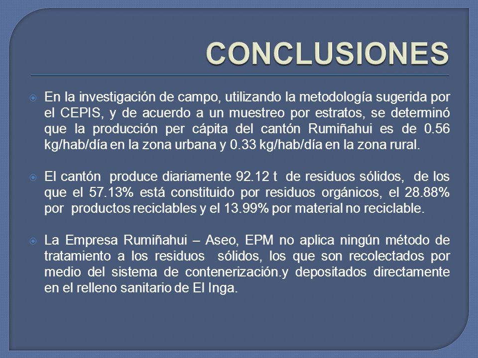 En la investigación de campo, utilizando la metodología sugerida por el CEPIS, y de acuerdo a un muestreo por estratos, se determinó que la producción