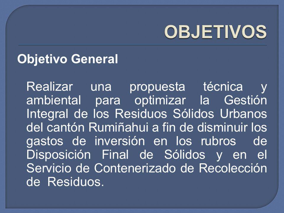 Objetivo General Realizar una propuesta técnica y ambiental para optimizar la Gestión Integral de los Residuos Sólidos Urbanos del cantón Rumiñahui a