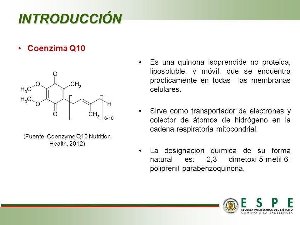 INTRODUCCIÓN Es una quinona isoprenoide no proteica, liposoluble, y móvil, que se encuentra prácticamente en todas las membranas celulares.