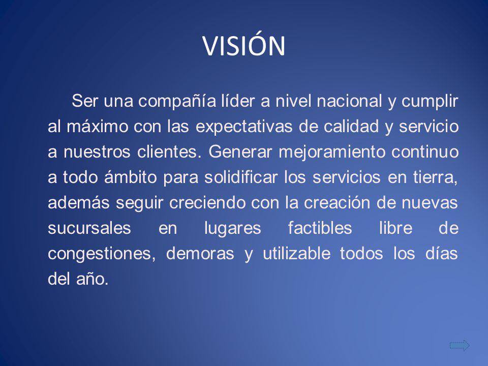 VISIÓN Ser una compañía líder a nivel nacional y cumplir al máximo con las expectativas de calidad y servicio a nuestros clientes. Generar mejoramient