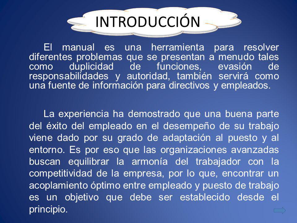El manual es una herramienta para resolver diferentes problemas que se presentan a menudo tales como duplicidad de funciones, evasión de responsabilid