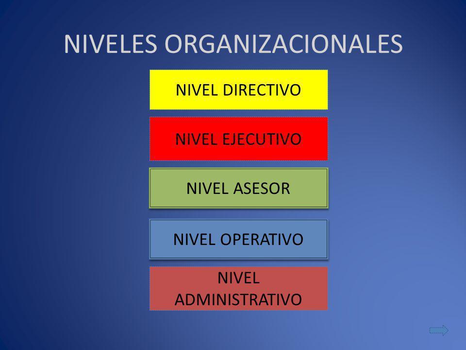 NIVELES ORGANIZACIONALES NIVEL DIRECTIVO NIVEL ASESOR NIVEL OPERATIVO NIVEL EJECUTIVO NIVEL ADMINISTRATIVO