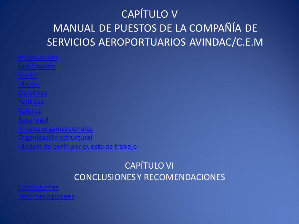CAPÍTULO V MANUAL DE PUESTOS DE LA COMPAÑÍA DE SERVICIOS AEROPORTUARIOS AVINDAC/C.E.M Introducción Justificación Visión Misión Objetivos Políticas Valores Base legal Niveles organizacionales Organización estructural Modelo de perfil por puesto de trabajo CAPÍTULO VI CONCLUSIONES Y RECOMENDACIONES Conclusiones Recomendaciones