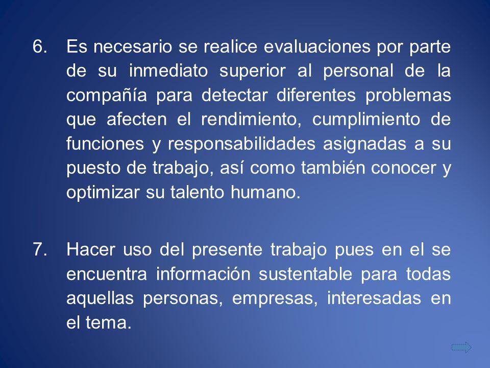 6.Es necesario se realice evaluaciones por parte de su inmediato superior al personal de la compañía para detectar diferentes problemas que afecten el