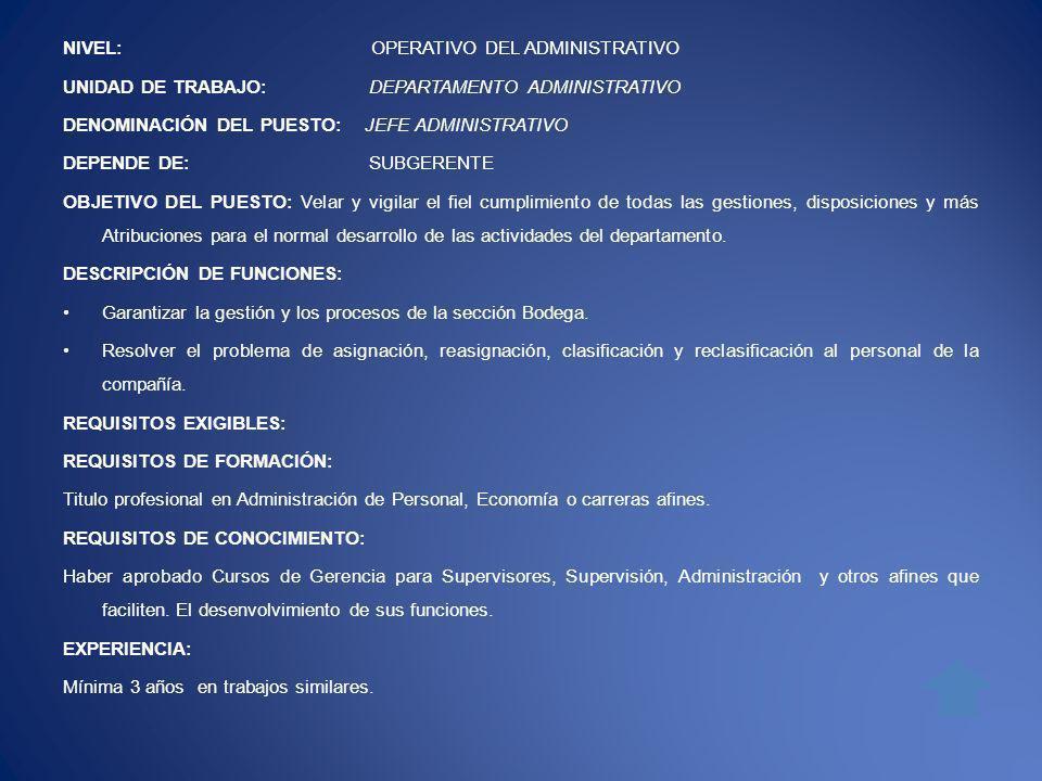 NIVEL: OPERATIVO DEL ADMINISTRATIVO UNIDAD DE TRABAJO: DEPARTAMENTO ADMINISTRATIVO DENOMINACIÓN DEL PUESTO: JEFE ADMINISTRATIVO DEPENDE DE: SUBGERENTE OBJETIVO DEL PUESTO: Velar y vigilar el fiel cumplimiento de todas las gestiones, disposiciones y más Atribuciones para el normal desarrollo de las actividades del departamento.
