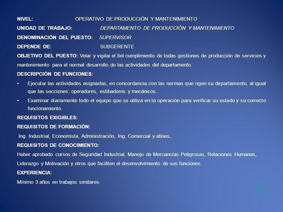 NIVEL: OPERATIVO DE PRODUCCIÓN Y MANTENIMIENTO UNIDAD DE TRABAJO: DEPARTAMENTO DE PRODUCCIÓN Y MANTENIMIENTO DENOMINACIÓN DEL PUESTO: SUPERVISOR DEPEN