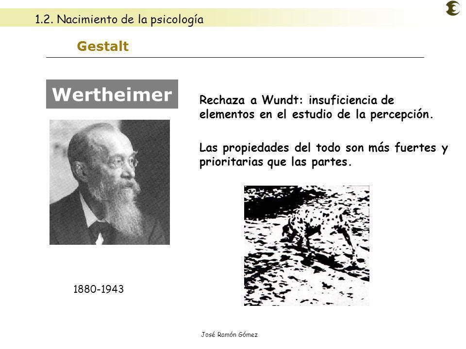 José Ramón Gómez Gestalt Rechaza a Wundt: insuficiencia de elementos en el estudio de la percepción. Las propiedades del todo son más fuertes y priori