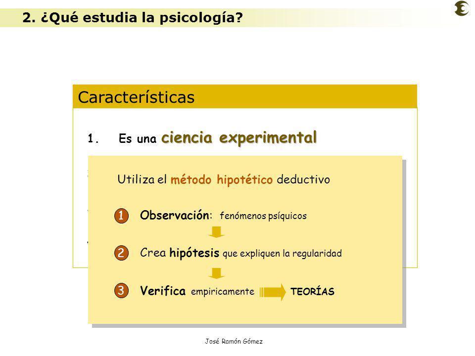 José Ramón Gómez Características ciencia experimental 1.Es una ciencia experimental 2.Es una ciencia ecléctica 3.Opera con diferentes niveles de análi
